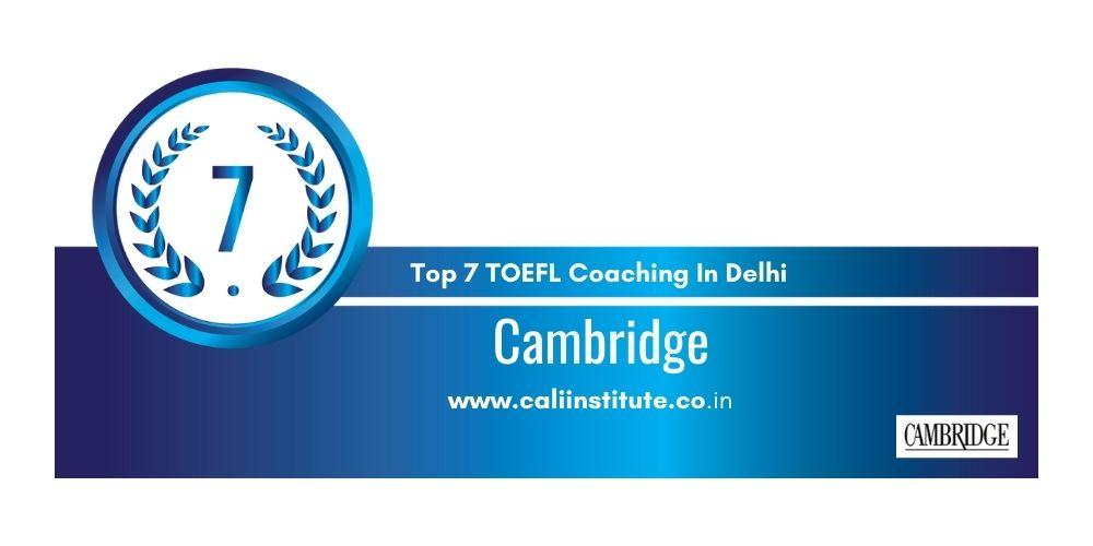 Rank 7 TOEFL Coaching In Delhi