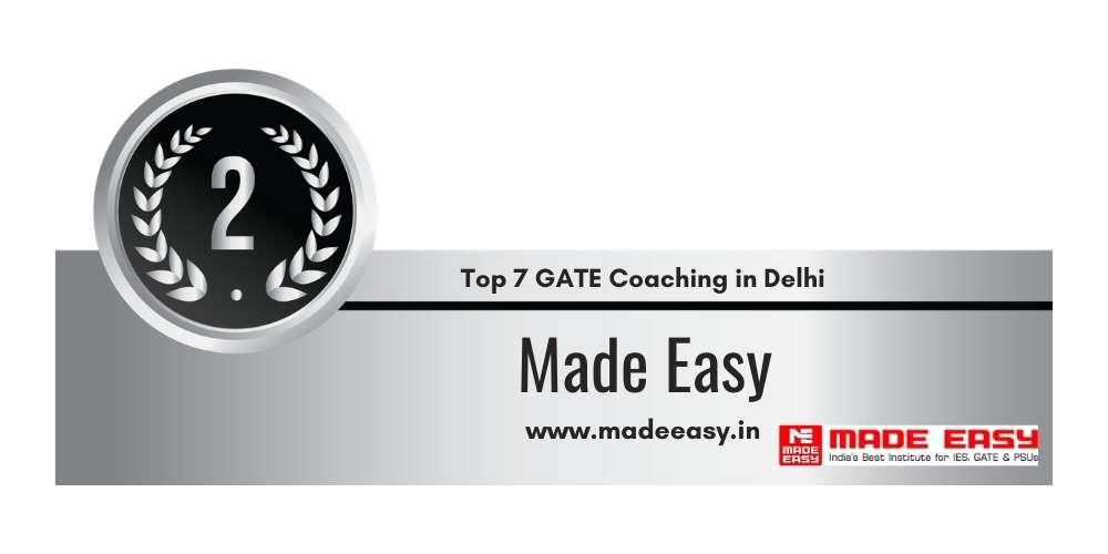 Rank 2 in Top 7 GATE Coaching in Delhi.