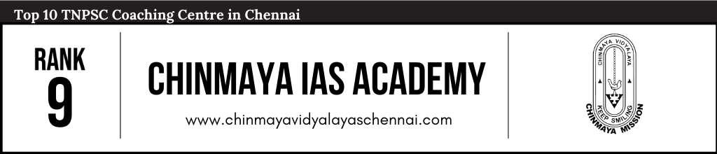 Chinmaya IAS Academy Chennai at Rank 9